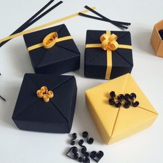 """Yeni kutucuklar.. Biraz ""klas"" olsun istedim. Iyi Pazarlar.. Working on a new set in black&gold.. Happy Sunday.. #kagitliketsy #etsyfinds #etsy #handmade #giftwrap #giftbox #jewelrygiftbox #christmasgiftwrap #christmasgift #luxurygiftwrap #origami #origamibox #quilling #kagitlik"" Photo taken by @kagitlik on Instagram, pinned via the InstaPin iOS App! http://www.instapinapp.com (10/26/2014)"
