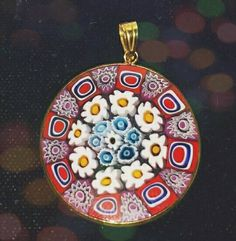 Millefiori Murano Art Glass Pendant Italy by ArtsyMysticDesigns on Etsy Glass Pendants, Glass Art, Decorative Plates, My Etsy Shop, Italy, Pendant Necklace, Check, Jewelry, Jewellery Making