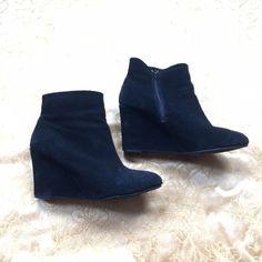 Steve Madden black wedge booties Lightly worn black suede wedge booties! Steve Madden Shoes Ankle Boots & Booties