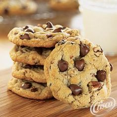 Ultimate Chocolate Chip Cookies, using Crisco® Baking Sticks Butter Flavor All-Vegetable Shortening. Makes 3 dozen cookies in 35 minutes.