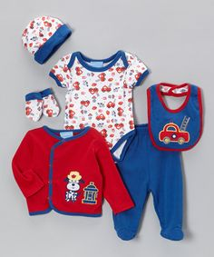 Take a look at this Blue & Red Fire Truck Pup Six-Piece Layette Set by Duck Duck Goose on #zulily today!