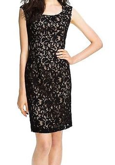 Adrianna Papell NEW Black Womens Size 2P Petite Laced Sheath Dress $118 226 DEAL