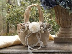 Burlap Flower Girl Basket with Sola Flower Twigs Rustic Woodland Wedding Burlap Bag ~Small~ See Item Details Tab for Size Made to Order Sola Flowers, Burlap Flowers, Dried Flower Wreaths, Dried Flowers, Party Make-up, Rustic Flower Girls, Flower Girl Basket, Flower Baskets, Woodland Wedding