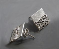 Sterling Silver Square Post Earrings SS9 by Kailajewellery on Etsy, £39.00