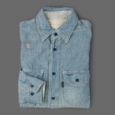 Chimala - Chambray Work Shirt in Vintage Repair