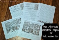 Athanasius Notebook Pages Principled Academy: Writing Tips, Writing Prompts, Reformation Sunday, Curriculum, Homeschool, History Projects, Teaching Science, Interactive Notebooks, Mini Books