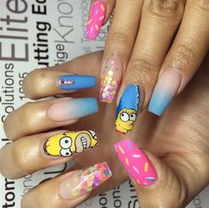 """If you're unfamiliar with nail trends and you hear the words """"coffin nails,"""" what comes to mind? It's not nails with coffins drawn on them. It's long nails with a square tip, and the look has. Disney Acrylic Nails, Best Acrylic Nails, Disney Nails, Matte Nails, My Nails, Gorgeous Nails, Pretty Nails, Polka Dot Nails, Polka Dots"""