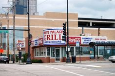 """Guy Fieri Reviews Chicago's Famous Diner, The White Palace Grill  1159 S.Canal Street  This is an old fashioned """"greasy spoon"""" that never closes, where the food is """"off the hook."""" It has been around for 68 years and is still crankin' at all hours of the day or night"""