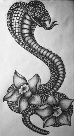 artbylaurawilliamson:  I just finished this cobra narcissus tattoo design.