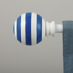 The Land of Nod | Curtain Accessories: Curtain Rod Striped Blue Ball Finials in Curtains & Hardwares