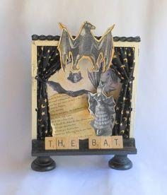 Batty Halloween Decoration Altered Art Shadow Box by shrinemaiden, $20.00 #shrine #bat #halloweenartistbazaar #halloween