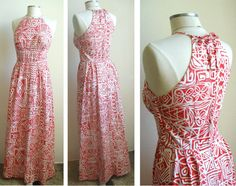 Vintage Hawaiian maxi dress in a bold, red tribal print with petroglyphs and Hawaiian kapa cloth style designs. Adjustable halter top with a fitted waist. On the skirt there are long pleats on each side of a flat front panel creating a very retro look. It is in great vintage condition with only one tiny spot near the top zipper right where the ties are tied. The spot is visible in the last photo.    Brand: Lauhala MADE IN HAWAII    It is marked as a size 12 but I think is smaller than a…