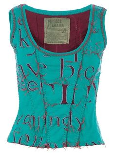 Shop Projet Alabama letter printed tank top in  from the world's best independent boutiques at farfetch.com. Shop 300 boutiques at one address. Diy Clothing, Sewing Clothes, Couture, Reverse Applique, Stitch Shirt, Altering Clothes, Printed Tank Tops, Pullover, Tejidos