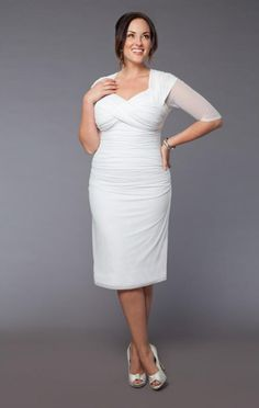 A very simple and understated dress.  However I don't think I would feel 'bridal' without lace.  Up to size 28.  curvety.com