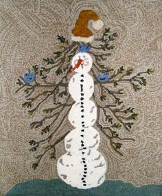 Winter-themed rug hooking patterns from The Wool Street Journal