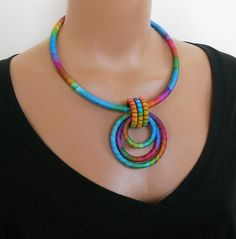 Pendant Statement Necklace Carnivale by fiber2love on Etsy