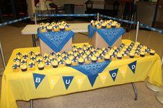 cake table nice cupcake display blue and gold boy scout banquet   Blue and gold banquet for Boy Scouts