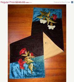 SURPRISE 25% OFF SALE- Antique Boudoir Silk Velvet Fabric Chenille Embroidered Runner