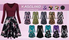 KASCLINO Women's Floral Printed Dress, A Line Long, Amazon - DealsPlus Cheap Vintage Clothing, Vintage Outfits, White Cocktails, Swing Dancing, Womens Cocktail Dresses, Floral Prints, Bridesmaid, Amazon, Elegant