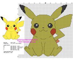 Pikachu schema punto croce da ricamare gratis