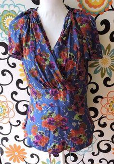 Anthropologie Girls From Savory Women Blue Dayflower Silk Blouse Size 12 #Anthropologie #Blouse