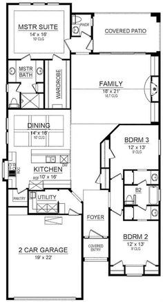 The impressive 1-story family home's floor plan has 2,098 square feet of fully conditioned living space and includes these features: • Fireplace in the family room • Walk-in kitchen pantry • Good-size laundry room with sink • Jack and Jill shared bathroom #houseplan #openfloorplan