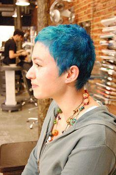 Super short blue hair. Prehapes. Maybe. Idk.