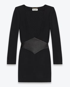 DIAMOND WAISTED LONG SLEEVE DRESS IN BLACK JERSEY AND LEATHER  – Yves Saint Laurent –