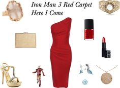 Red Dress and Jewelry is a fun statement for the Iron Man 3