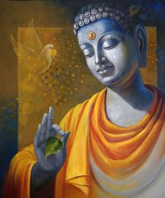 Buy Budhha Wisdom painting online - original museum quality artwork by Sanjay Lokhande, available at Gallerist. Check price, painting and details online. Lotus Buddha, Art Buddha, Buddha Kunst, Buddha Artwork, Buddha Canvas, Gautama Buddha, Buddha Buddhism, Buddhist Art, Buddha Wall Painting