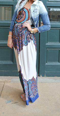 printed maxi dress and jean jacket