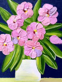 Floral oil pink flowers impasto palette knife wall decor art original painting medium size