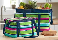 Grocery Shopping made BEAUTIFUL (and Functional!) Fresh Market Thermal, Deluxe Utility Tote with 2 Essential Storage Totes all in Preppy Pop. Benjamins Wallet in Cork  #organizingenvy #thirtyone #organized