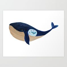 Mother whale Art Print by Tina Van Dijk Art. Worldwide shipping available at Society6.com. Just one of millions of high quality products available.