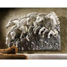 Design Toscano Neptune's Horses of the Sea Sculptural Frieze Wall Décor