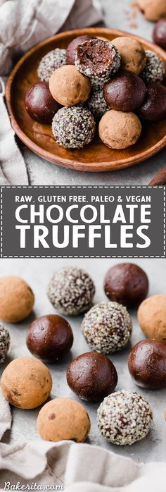 These Raw Chocolate Truffles will satisfy your chocolate candy cravings, guilt-free! These raw, date-sweetened truffles are easy to make in your blender or food processor, and they're gluten-free, paleo, and vegan.
