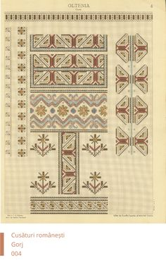Gorj Decoration Folk Embroidery, Embroidery Patterns, Cross Stitch Borders, Cross Stitch Patterns, Pattern Design, Free Pattern, Brick Stitch, Mittens, Folk Art