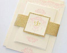 Elegante invitación de boda brillo doble por EmbellishedPaperie
