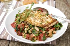 Recipe for sauteed white fish with Swiss chard and cannellini beans