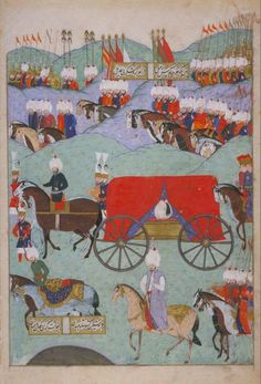 Ancient Turkish Miniatures The Funeral of Sultan Suleyman the Magnificent, 1566 Tughs in distance in funeral procession. Sultan Murad, Sultan Suleyman, Ottoman Turks, Library Images, Turkish Art, Ottoman Empire, North Africa, Illuminated Manuscript, Islamic Art