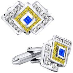 NEW Mens Silver Love Knots w// Cubic Zirconium Stone Cuff Links /& Studs Box Set