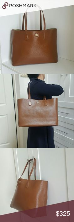 """Tory Burch dark tan  brown Large Perry Tote bag 15"""":bottom 19"""" top Lenght ? 12"""" H  ?  6""""D Perfect condition  Comes with dustbag is purchased at full price otherwise it will not MSRP $395 I dyed the purse and little darker and used top shimmer sealer coat to make the bag.more beautiful and durable !!! One of a kind ;) and will last a long time. Top coat will prevent scuff marks and stains Tory Burch Bags Totes"""