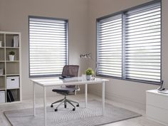 Made to measure Sheer Horizon Blinds For Your Office Windows | Illumin8 Blinds | Sasha Cloud in Blue Colour, Down & In Open Position