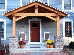 Timber Frame Front Porch | Found on timberframe-postandbeamhomes.com