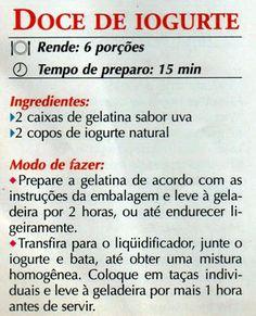 RECEITA DE DOCE DE IOGURTE