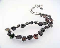 Urban Primitive Luna Necklace; steel, Mexican geodes; Kathy Van Kleeck