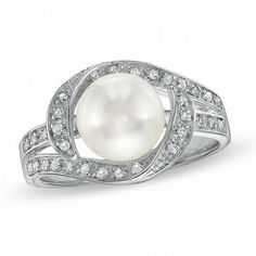 Zales Cultured Freshwater Pearl and White Topaz Crossover Ring in Sterling Silver sWUIKUBXH