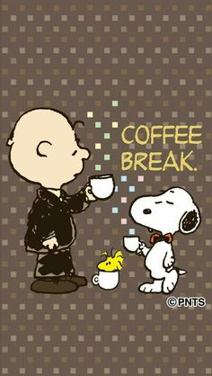 Snoopy and Charlie Brown Wearing Formal Attire and Drinking Coffee With Woodstock Sitting in a Coffee Cup on the Floor Between Them