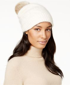 bdd68d76a29 Surell Slouchy Knit Rabbit Fur Pom Beanie   Reviews - Handbags    Accessories - Macy s