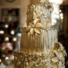 Gold Wedding Cakes (photo by Laura Ashbrook)